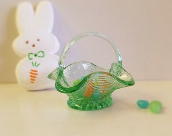 SALE! Vintage Green Glass Woven Basket Candy Dish