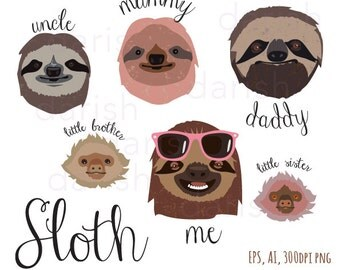 Sloth Family Clip Art, Sloth Clipart, Animal clipart, Sloth Characters, Family,  Cartoons, PNG, Vector, Love
