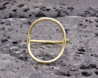 925 vermeil gold big open oval smooth band ring
