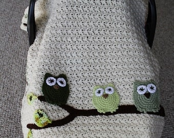 Instant Download, PDF FILE - Crochet Pattern, Infant Tented Car Seat Cover, Stroller /Car Blanket, Owls, Toddler Blanket, Baby Blanket