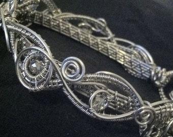 Silver & Savorski Bracelet, Wire Wrapped Bracelet, Wire Wrapped Jewelry, Bangle Bracelet, Silver Bracelet, Gift for Her