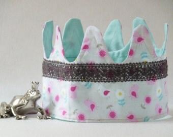 Sale birthday crown childrens crown hair accessories chuildren party birdie red white mint canvas gift handmade