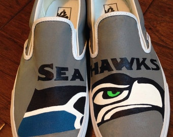 Men's Custom Painted Vans- Seattle Seahawks