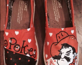 Custom Painted Toms Shoes- Oklahoma State University