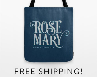 Tote Bag - Rosemary Beach Typography - Highway 30A - Florida - shopping bag - beach bag - gym bag - yoga bag