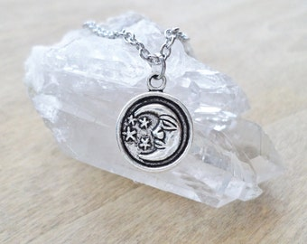 Small Silver Crescent Moon And Stars Necklace