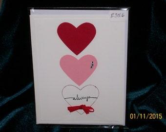 Handmade, triple hearts, Always, All Occasion card  E356
