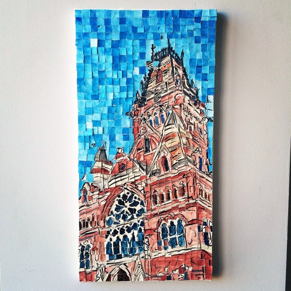 "Harvard University Annenburg Hall Architectural Art: 10""x20"" Original Painting"