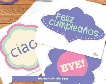 Small World Party Signs / Includes Good Bye and Happy Birthday in different languages