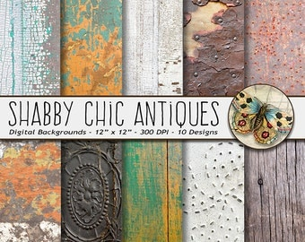 Shabby Chic Textures Digital Paper, Crackled and Rusted Shabby Chic Antiques Paper, Rustic Wood Digital Paper, Rustic Textures Backdrops