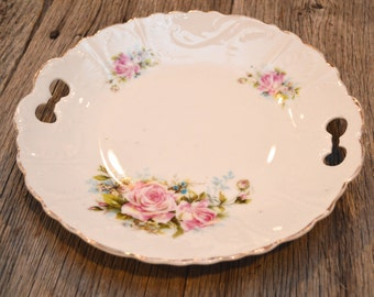 White Plate with Pink Roses - Floral Plate with Handles - Shabby Chic Plate