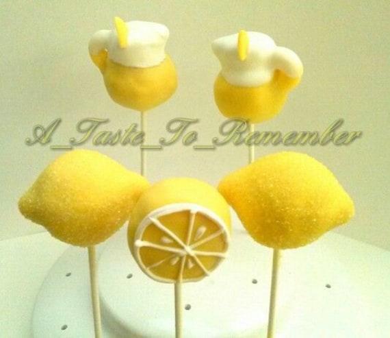 12 lemon and lemonade pitcher cake pops by atastetoremember for Lemon shaped lemonade stand