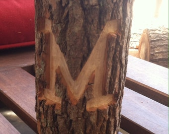 Natural Log Candle Holder with Carved Initial