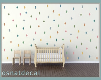 FREE SHIPPING 288 Rhombus Wall Decal Pastel Colors,Nursery Wall decal. Vinyl Wall Decal. Wall Sticker. Kids Room Wall Decal.