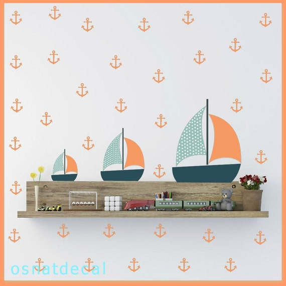 FREE SHIPPING Wall Decal 71 Anchors With 3 Boats Home Decor Nursery Wall Sticker Color Pastel Peach Orange Light Blue