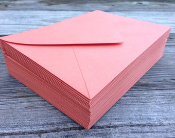 50 Papaya Dark Coral Orange Salmon A7  5x7 Invitation or A1 (4Bar) RSVP Pointed Flap Envelopes - Paper Source Envelope