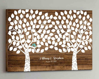 CANVAS Wedding Guest Book Wood - 150 Guests - Two Double Tree Wedding Guestbook Canvas Alternative Guestbook Canvas Guest book - Wood design
