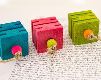 3 Groovy Blocks -  Bird Toy Toss Toy Foot Toy Small Medium Large Birds Caique Conure Pionus Amazon African Gray Eclectus