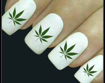 Marijuana nail art etsy nail decal marijuana nail art 20 cannabis water slide decals fingernail decals prinsesfo Image collections