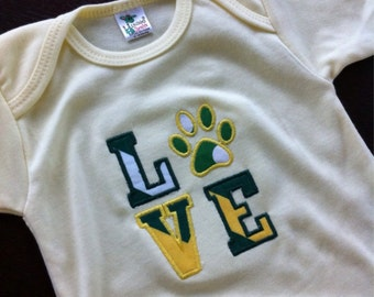 Embroidered Baylor Bears Green and Gold Shirt, Baylor Baby Gift, Baylor University, Baylor Baby