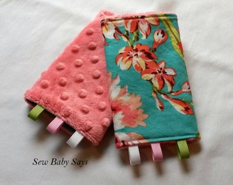 Baby Carrier Teething Pads-Reversible Strap Cover-Bliss Bouquet/Coral Minky Drool Pads