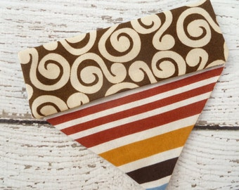 Dog Bandana,  Dog Scarf, Dog Clothes, Slide onto collar style, in modern brown prints and bold stripes