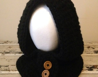 Hooded / Buttoned Chunky Cowl - choose any color - sizes toddler - adult