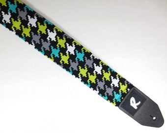 Houndstooth Guitar Strap - Modern - Acoustic or Electric - Girls