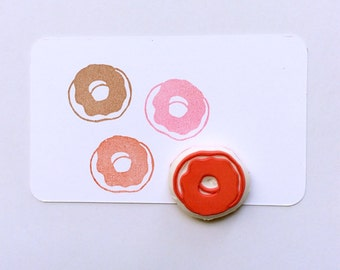 Donut stamp. Food stamp. Hand carved stamp. Rubber stamp. Unmounted