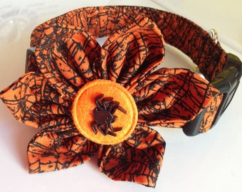 Orange & Black Halloween Spider Web Flower Collar for Dogs and Cats