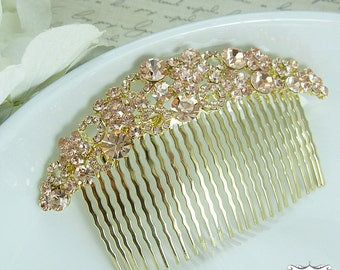 Bridal hair accessories, rose gold wedding hair comb, floral rhinestone hair comb hair comb wedding headpieces, vintage comb, comb 207031129
