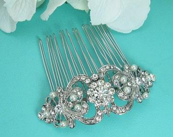 Crystal Pearl Wedding Comb, Rhinestone Comb, Bridal Comb pearl, Wedding Crystal Hair Comb, Hair Comb, Wedding Accessory, Comb 211121060