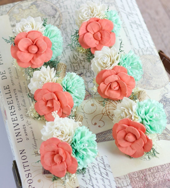 Mint Green Wedding Decoration Ideas: Wedding Flowers Pin Corsage Mint Coral Ivory Mother Pin