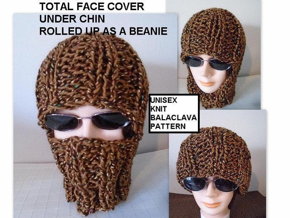Balaclava Knitting Pattern Straight Needles : Knitting PATTERN Knit Balaclava Ski Hat Beanie Easy flat