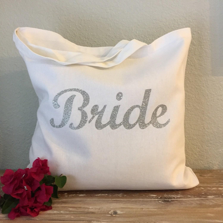 Silver Bride Tote Bag Purse Beach Bag Wedding Tote Or