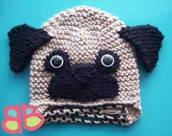 Knitting Pattern For Pug Hat : Popular items for pug crochet on Etsy