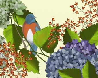 Floral and bird painting print, Bluebird on Light Yellow,  A bird painting with orange and purple flowers. An original digital painting.