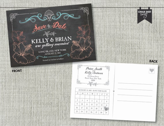 custom chalkboard style save the date beach wedding postcards front