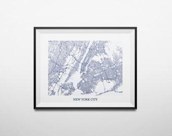 New York City, New York, Brooklyn, Queens, Bronx, Staten Island NYU Abstract Street Map Print