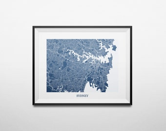 Sydney, New South Wales, Australia Abstract Street Map Print