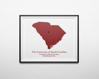The University of South Carolina, Columbia, South Carolina Map Print