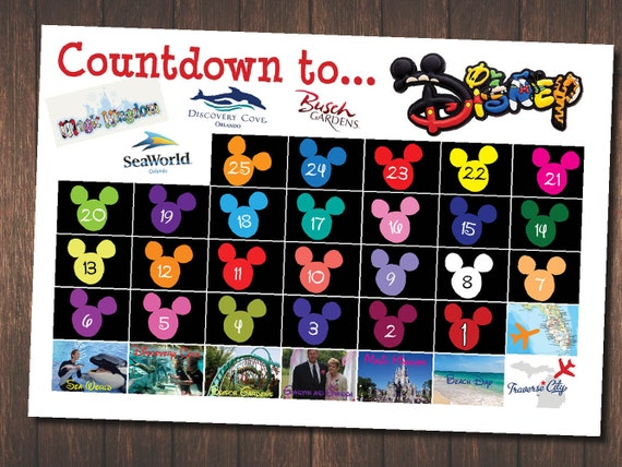 30 Day Countdown to Disney Trip Chart Customized for Your Family 13x19 ...