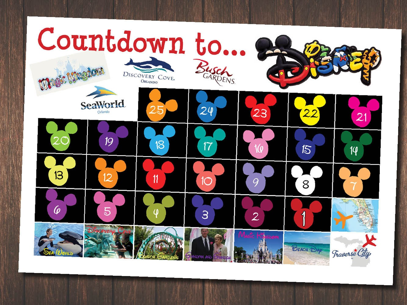 day countdown to disney trip chart customized for your 128270zoom