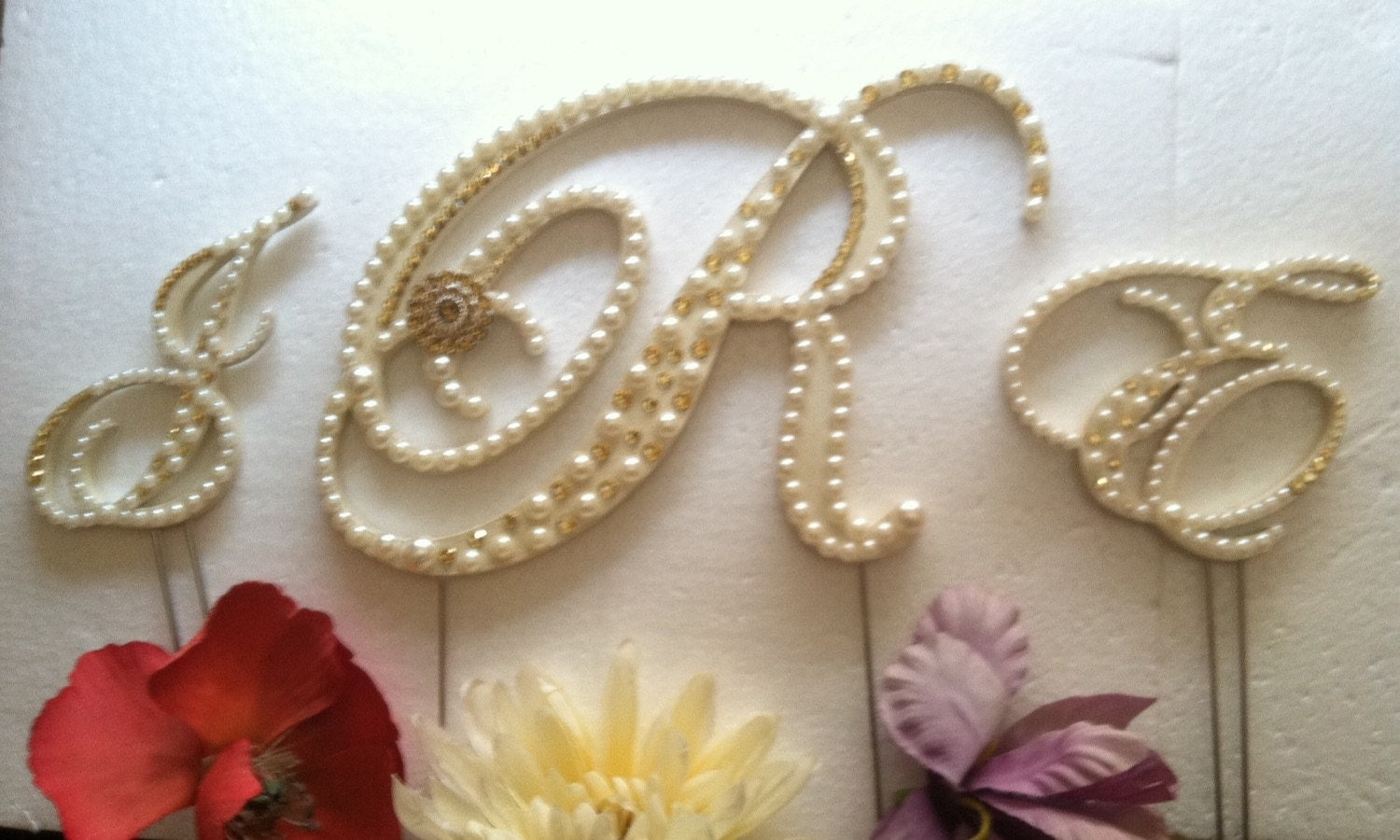 Wedding Cake Topper Monogram Cake Topper 3 Letters Pearls and