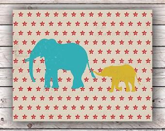 Elephants Mom / Dad & Baby Printable Art Print Circus Carnival Instant Digital Download Nursery Playroom Kids Room Wall Art Baby Shower gift