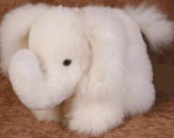 Baby Alpaca Fur Elephant Stuffed Animal Cuddly Soft Adorable and Cute! Holiday, Christmas, Hanukkah Gift