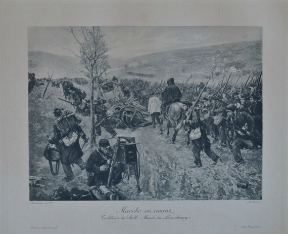 """Antique lithograph. """"Marche en avant"""", Roll. 111 years old print. 11'7 x 8'2 inches."""