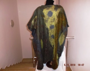 Handmade poncho,original work,nunofelt, woman feshion, woman gift,