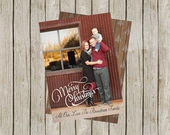 Merry Christmas Photo Card, Happy Holiday Photo Card, DIY Christmas Card, Printable Christmas Card, Christmas Tree, Christmas Wood (5x7)