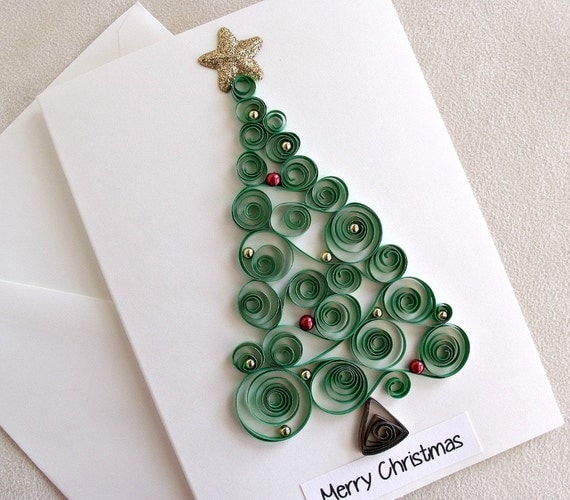 handmade paper quilled christmas card merry christmas tree. Black Bedroom Furniture Sets. Home Design Ideas